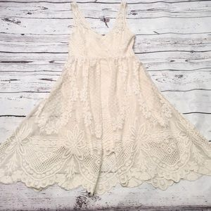 Free People soft ivory lace dress